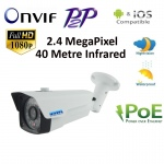 HD 1080P ONVIF IP 2.4MP Network CCTV Security Camera P2P POE 40m IR Night Vision
